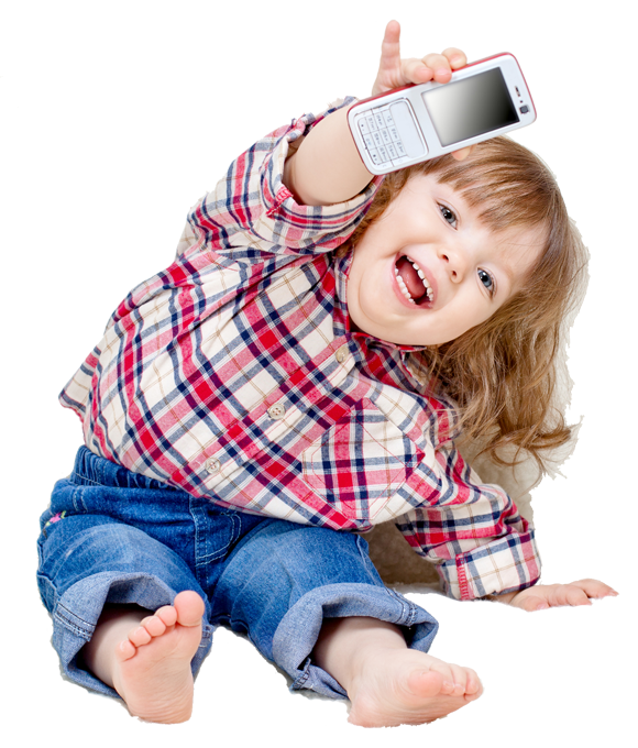 Young girl with Down syndrome, handing a cell phone toward the viewer
