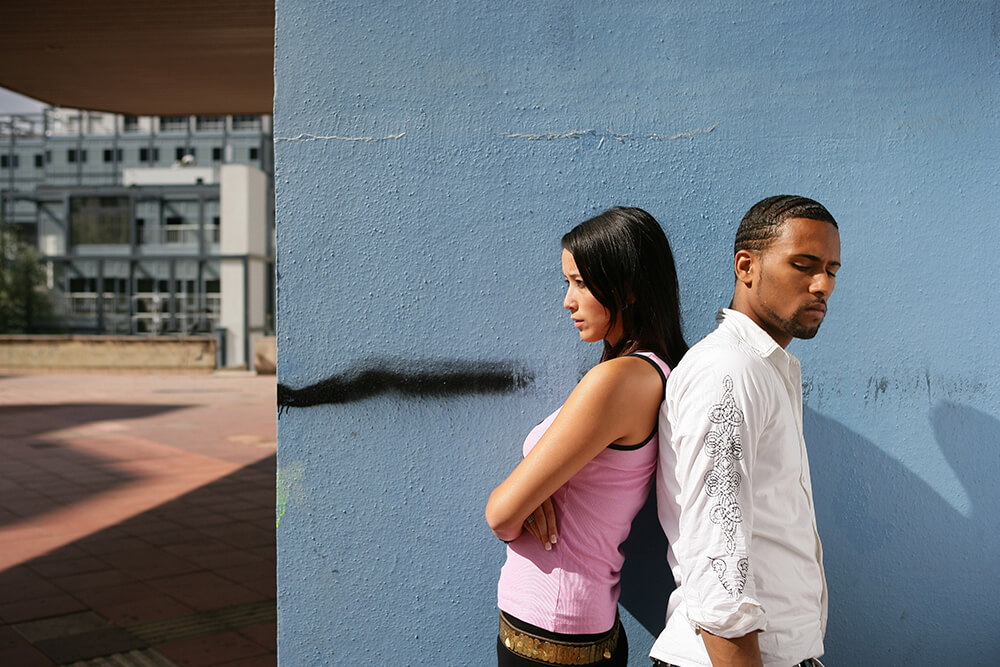 Angry couple, one partner is diagnosed with autism spectrum disorder