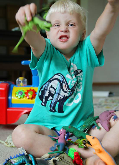 Young boy with autism spectrum disorder or other neurodevelopmental challenge, sitting on the floor, playing with about 20 dinosaurs